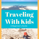 Pinterest image of beach and kids playing in sand