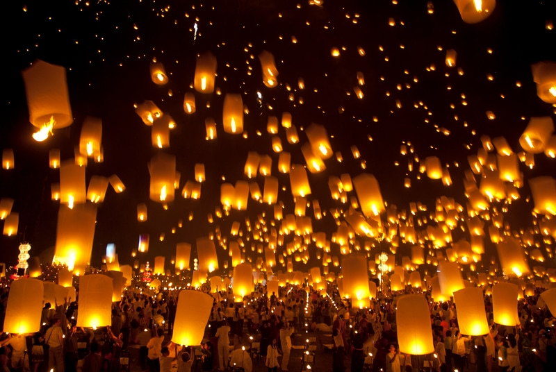 Lanterns at New Years in Thailand