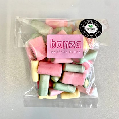 Bonza Confectionery - Rhubarb + Custard Front