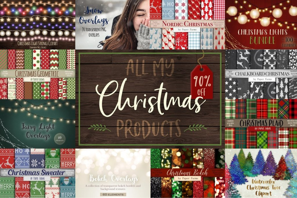 Christmas bundle met overlays, templates en patterns www.booest.nl