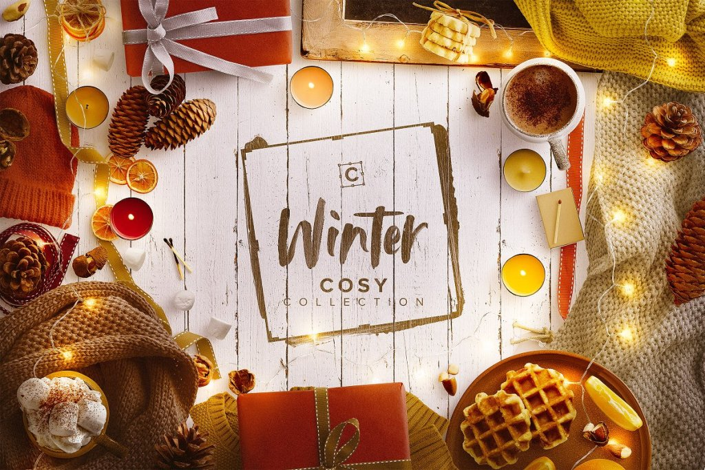 Winter cosy collectie met mockups