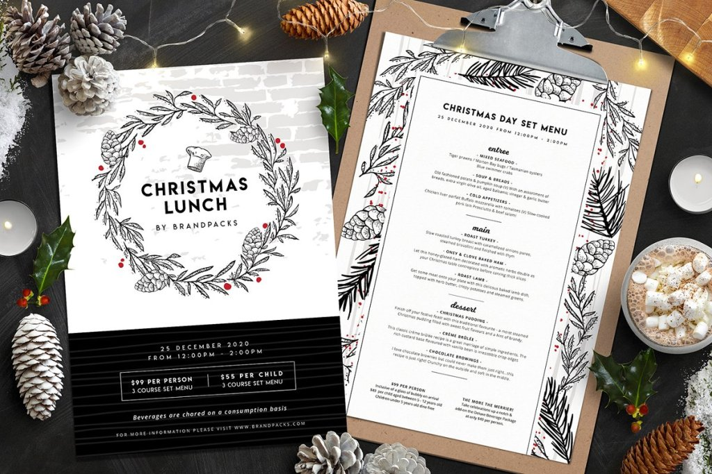 christmas menu templates www.booest.nl