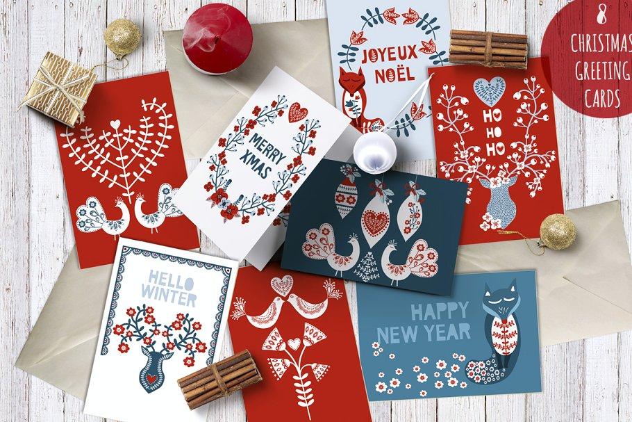 Scandinavische kerstkaarten met deze templates www.booest.nl/