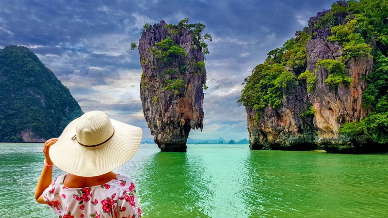 Solo female traveler in James Bond Island, Thailand