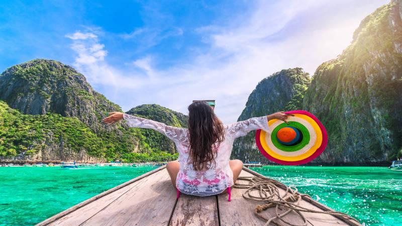 Female traveler in Maya Bay, Koh Phi Phi