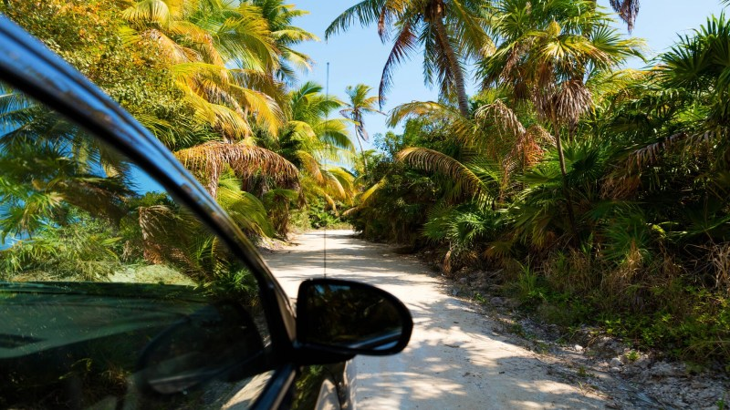 Driving to Sian Kaan reserve near Tulum