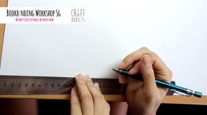 casebinding-outlining textblock on cardboard