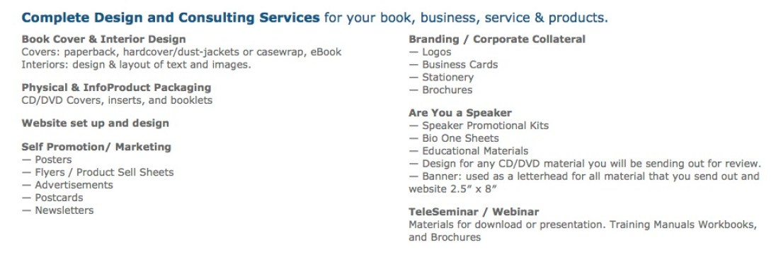 Design services offered by Book Designer Karrie Ross