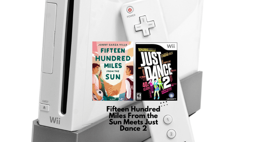Picture of Wii with the book cover Fifteen Hundred Miles From the Sun and the video game Just Dance 2 image on it