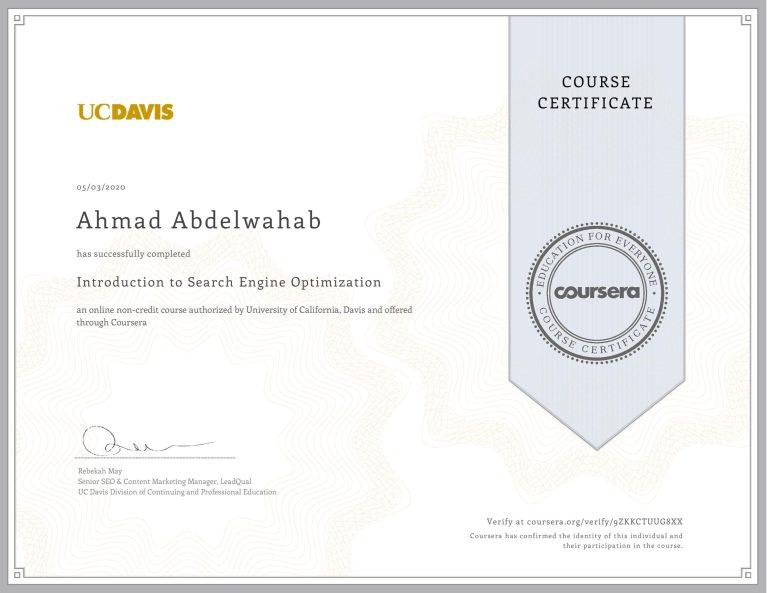 شهادة أحمد عبدالوهاب من كورسيرا لاجتيازه دورة تهيئة محركات البحث