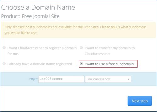 choose domain name - Step 2