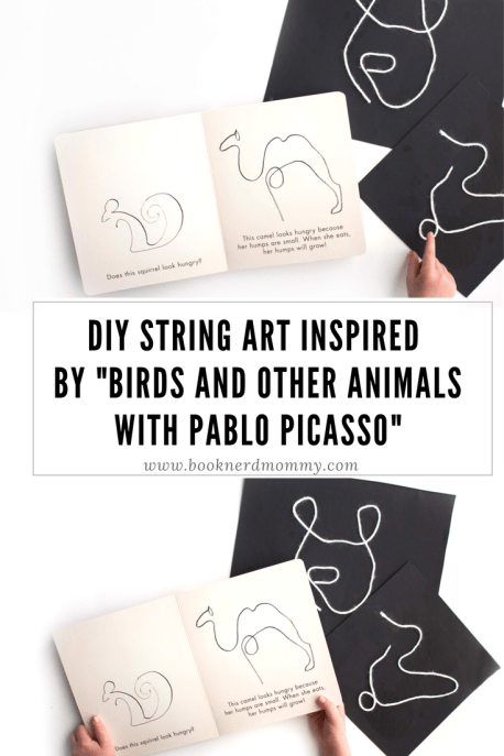 "This DIY string art is inspired by the work of Pablo Picasso featured in this new book ""Birds and other Animals with Pablo Picasso"". Such a perfect craft for a kids art lesson!"