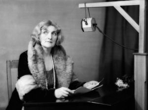 January 1932, England, UK --- Dame Sybil Thorndike at the BBC --- Image by © BBC/Corbis