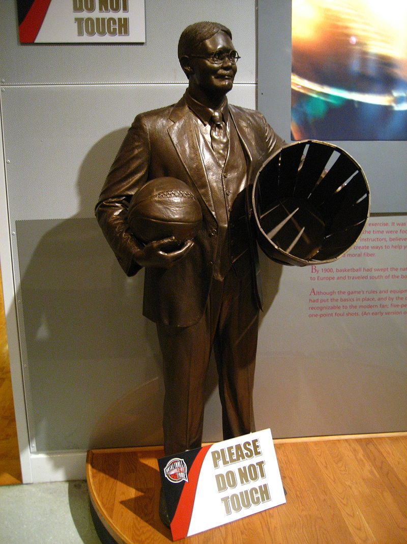 Statue of James Naismith at Basketball Hall of Fame and Museum in Springfield, Massachusettes