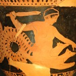 SKYLLA Museum Collection: Musée du Louvre, Paris, France Catalogue Number: TBA Beazley Archive Number: N/A Ware: (Lucanian?) Red Figure Shape: Krater Painter: -- Date: ca 450 - 425 BC Period: Classical