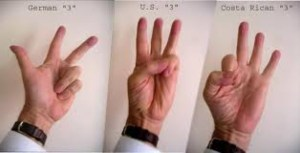 three countries using three fingers