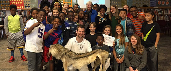 Working with a school group at the International Wolf Center in Ely, Minnesota