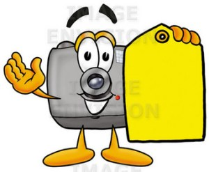 sym flash camera cartoon character holding a yellow sales price tag