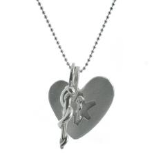necklace heart brushedsilver snake