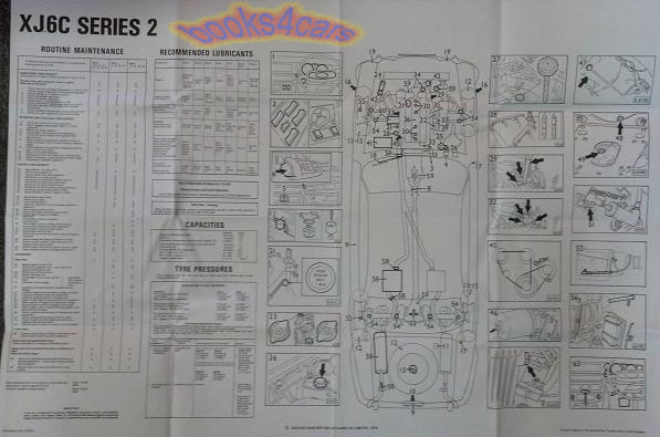 jaguar xj6c maintenance wall chart diagram service xj coupe