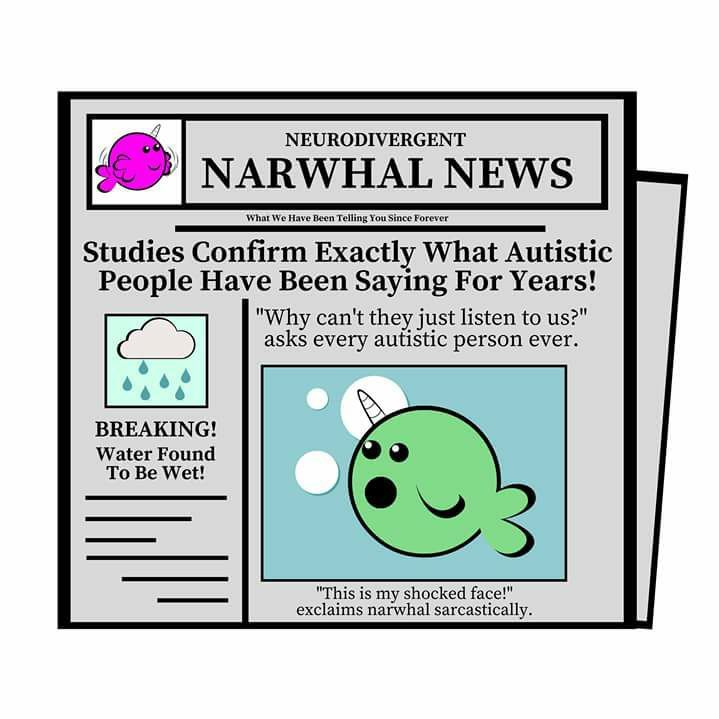 cartoon newspaper headline 'studies confirm exactly what autistic people have been saying for years!'