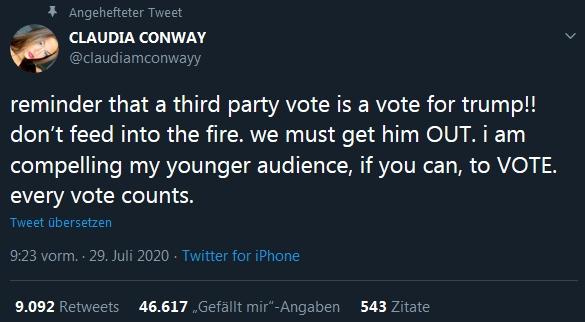 Claudia Conway angehefteter Tweets