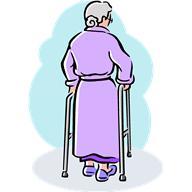 Old woman walking away