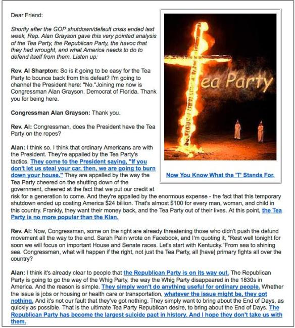 Grayson fundraising letter comparing Tea Party to KKK