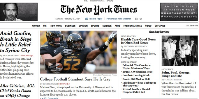 New York Times on Michael Sam