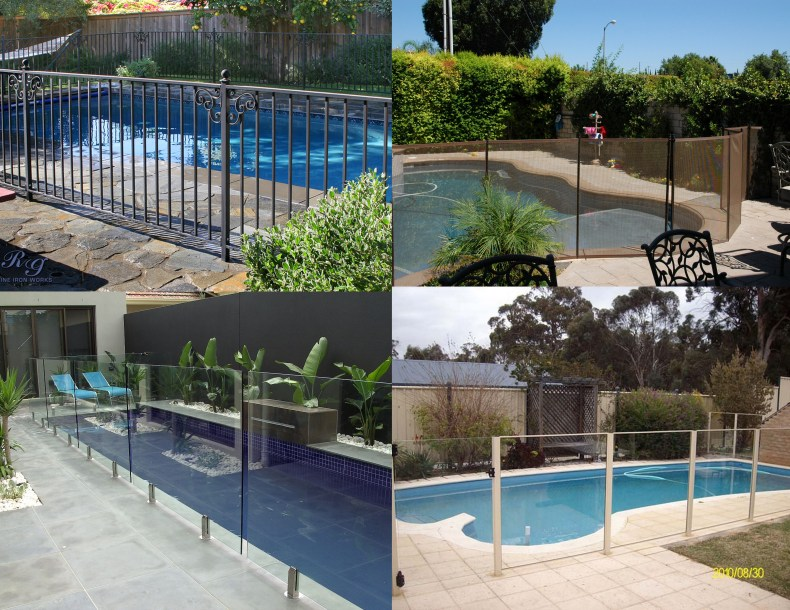 Pool fencing collage