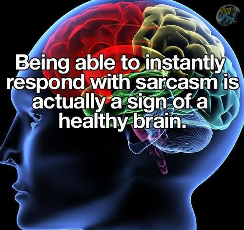 Sarcasm is the sign of a healthy brain