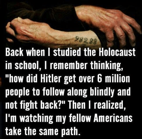 Americans blindly following the Holocaust path