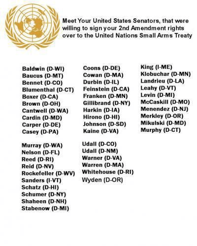 Senators who would give UN control over 2nd amendment