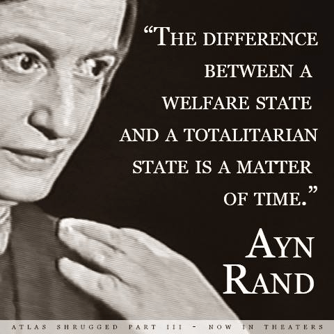Ayn Rand difference between welfare and totalitarian state
