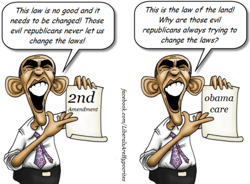 Obama talks differently about 2nd amendment and Obamacare