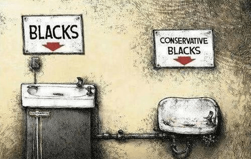 Black conservatives drinking fountain