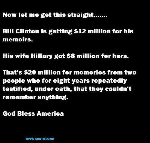 Clintons got 20 million for memoirs after testifying that they remembered nothing