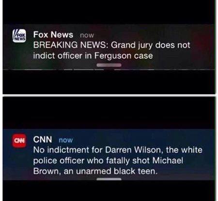 Different tweets from CNN and Fox re Ferguson