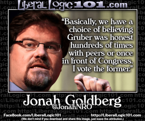 Jonah Goldberg Gruber honest hundreds of times before supporters or once before congress