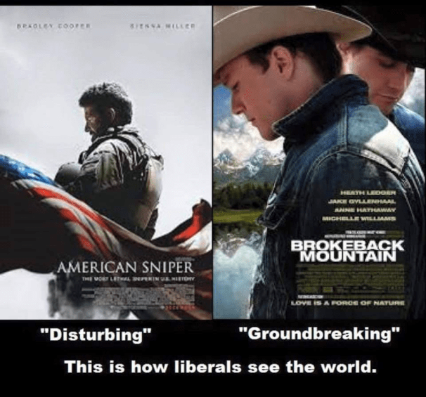 Liberals on American Sniper versus Brokeback Mountain