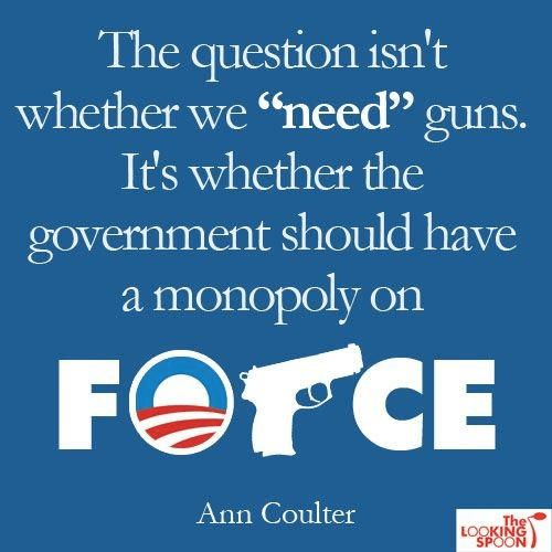 Question is whether we need guns it's the government's monopoly on force