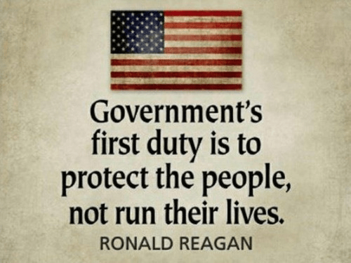 Reagan government's duty to protect people not destroy them