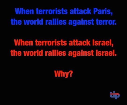 When terrorists attack Israel the world supports the terrorists