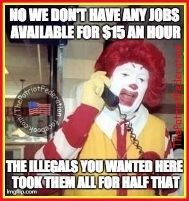 Illegal aliens took entry level McDonald's jobs