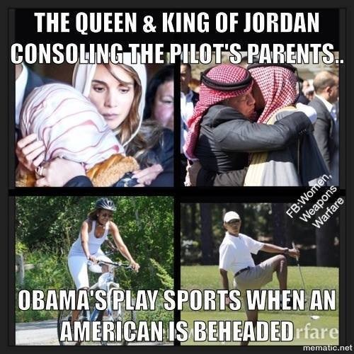 Jordanian rulers take terrorism more seriously than Obama the golfer does
