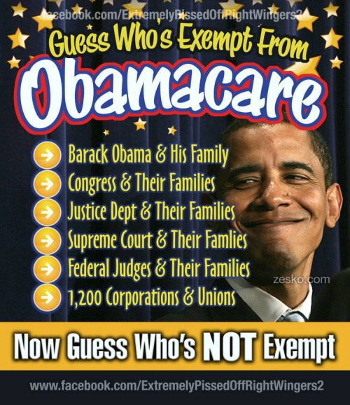 Obama and his political cronies are exempt from Obamacare