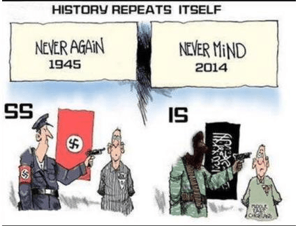 Never again 1945 Never mind 2014