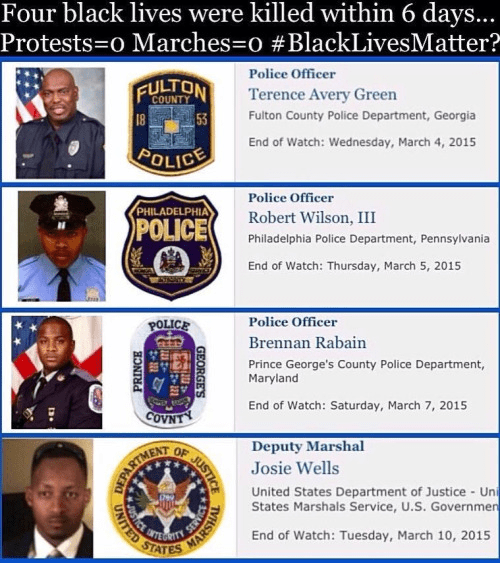 No one marched for black police officers killed in line of duty
