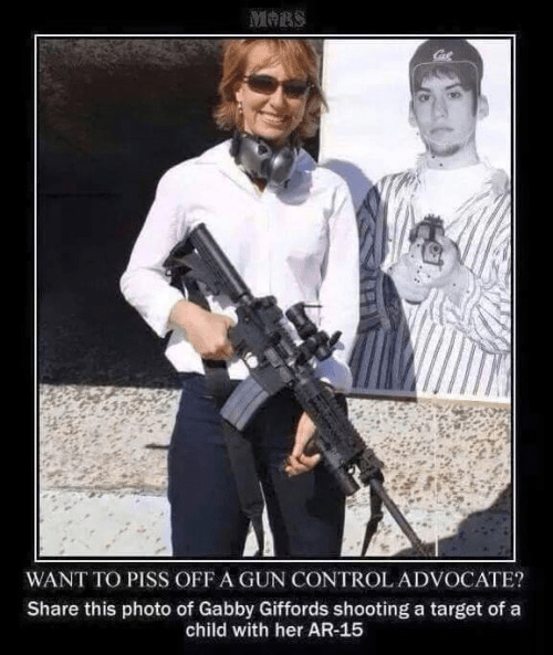 Gabby Giffords with a gun