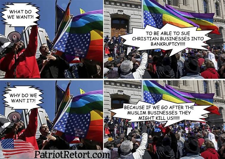 Gays against Christians not Muslims